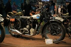Old German motorcycle NSU 351 OSL 1935, right side. General view. Time of the International motorcycle industry salon IMIS2018. Lenexpo. Saint-Petersburg, Russia royalty free stock images