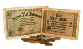 Old German Reichsmarks, 10-30 years of the 20th century isolated Stock Image
