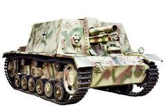 Old German self-propelled howitzer isolated white royalty free stock photo