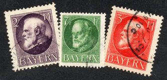 Old german stamps of Bavaria Stock Photography