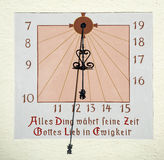 Old German sundial in mural painting Royalty Free Stock Photography
