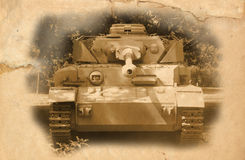 Old German tank of WWII period. Effect of aged image royalty free stock images
