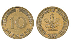Old German ten penning coin. Royalty Free Stock Photo