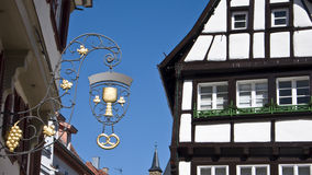 Old German town. A view of traditional German architecture along the street of historic Bad Wimpfen, Germany stock image