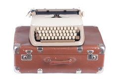 Old german type writer on an old suitcase Royalty Free Stock Photography