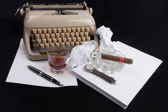 Old german type writer with paper, cigare, vintage watch and fou Royalty Free Stock Photo