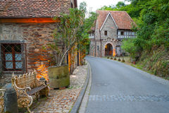 Old German village street. With a garden bench royalty free stock photos