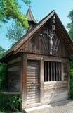Old German wooden wayside shrine stock images
