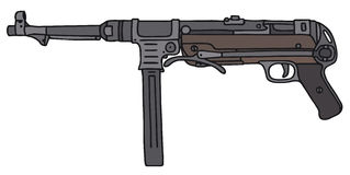 Old germany automatic gun. Vector illustration, hand drawing Royalty Free Illustration