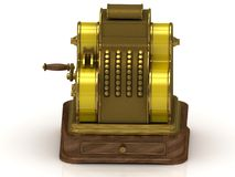 Old gilded cash register with yellow ribbons Royalty Free Stock Image