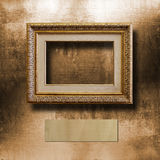 Old gilded picture frame for  portrait Royalty Free Stock Photography