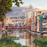 Old Girona town, view on river Onyar Royalty Free Stock Photos