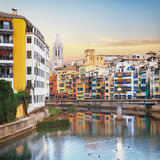 Old Girona town, view on river Onyar Stock Image