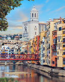 Old Girona town, view on river Onyar Stock Photos