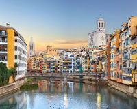 Old Girona town, view on river Onyar Royalty Free Stock Images