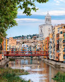 Old Girona town, view on river Onyar Royalty Free Stock Image