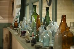 Old glass bottles and bottles royalty free stock photo