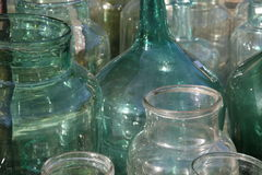 Old glass bottles. Group of the old glass bottles handmade in Italy, taken in Florence Royalty Free Stock Photos