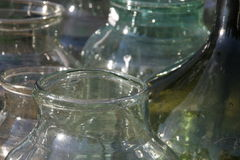 Old glass bottles. Group of the old glass bottles handmade in Italy, taken in Florence Stock Photography