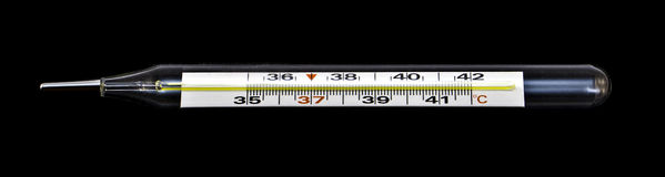 Old glass classic mercury thermometer isolated Royalty Free Stock Photo