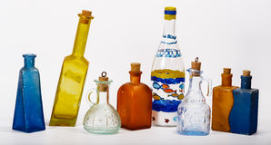 Old glass decorative bottles Royalty Free Stock Photo