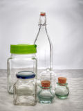 Old glass kitchen storage containers. Still life. Royalty Free Stock Photo