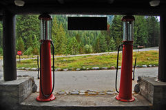 Old glass topped gas pumps Royalty Free Stock Photos