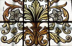 Old glass window. Detail of old glass window in a Belgian church stock images