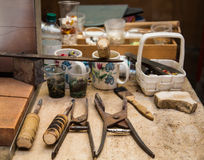 Old Glass Workers Tools Royalty Free Stock Images