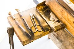 Old Glassblower's Tools. In a Brightly Lit Room Royalty Free Stock Photo