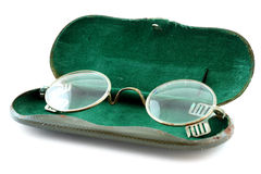 Old glasses with case Stock Photo