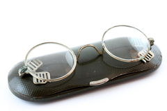 Old glasses with case Royalty Free Stock Photo