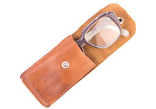Old glasses in a leather case, isolated.  Royalty Free Stock Photography