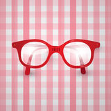 Old Glasses on Pink Tablecloth Stock Photo