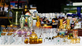 Old Glassware on a Fleamarket Stock Photo