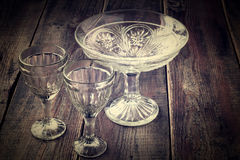 Old Glassware. Tinted photos Royalty Free Stock Images