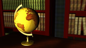 Old globe in a classic library stock video footage