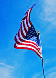 Old Glory flying proud in Glocester, MA Royalty Free Stock Image