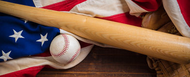 Old Glory and the National pastime Stock Images