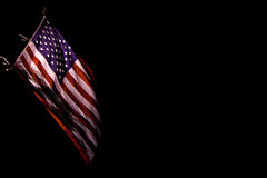 Old Glory-1. U.S. flag waving in dark background Stock Images