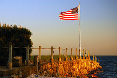 Old Glory waving at days end Royalty Free Stock Photography