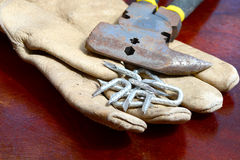Old Glove and Tacks Stock Photography