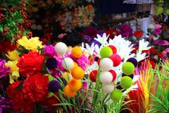 Old Goa Fest. These are artificial flowers for sale at old Goa fest royalty free stock photos