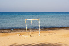Old goalpost in a tropical beach abandoned Stock Images