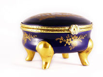 Old gold-blue jewelry box Royalty Free Stock Images