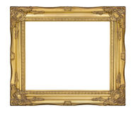 Old gold classic frame. The antique, vintage picture frame. Gold picture frame with Place for Text, Picture or Design isolated on white background, with clipping stock image