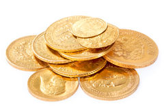 Old gold coins. Old russian gold coins isolated on white background (18-19 century Stock Images
