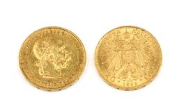 Old gold coins. More than 100 years old gold coins - 20 corona, emperor Franz Joseph Royalty Free Stock Photos