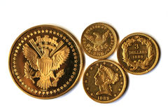 Old Gold Coins of America Stock Photo
