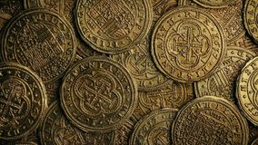 Old gold coins rotating closeup. Rotating pile of old gold coins stock video